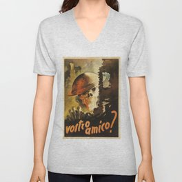 Vintage WWII Italian Skeleton Soldier in Bombed-out Ruins Poster Unisex V-Neck