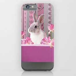 Bunny sitting in bathtub with lotus flowers #society6 iPhone Case