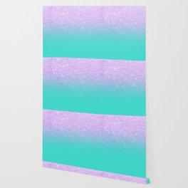 Modern mermaid lavender glitter turquoise ombre pattern Wallpaper
