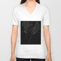 smoking V-neck T-shirts featuring smoking by Rina Deguchi