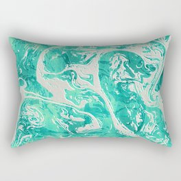 Abstract Ultra Aquamarine Marble Rectangular Pillow
