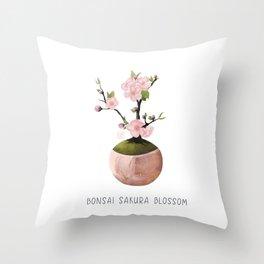 Bonsai mini Sakura Tree  Throw Pillow