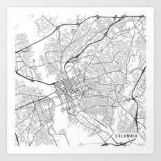 Columbia Map, USA - Black and White Art Print