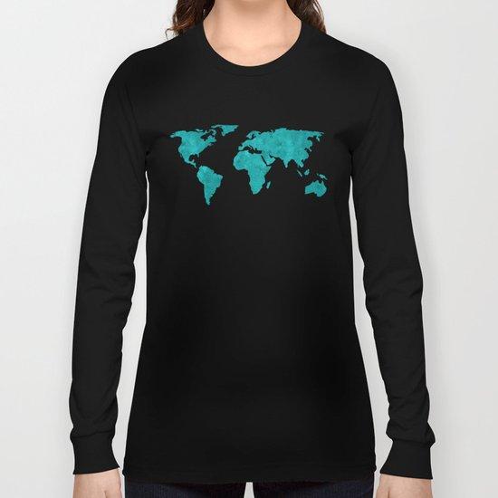 Teal Cyan Metallic Foil Map on Black Long Sleeve T-shirt