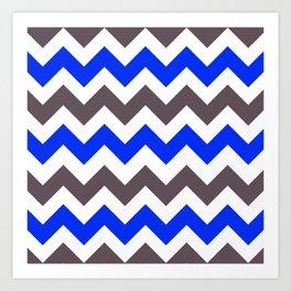 Blue Nebulas and Grey ZigZag Chevron Pattern Art Print