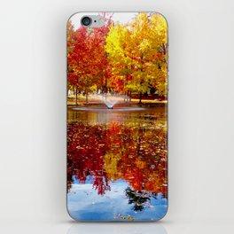 Autumn on the pond iPhone Skin