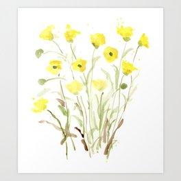 Pretty, Delicate, Happy, Yellow Buttercups Art Print
