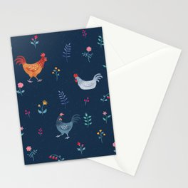 Little Hens (blue) Stationery Cards