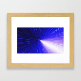 High energy particles traveling through space-time Framed Art Print