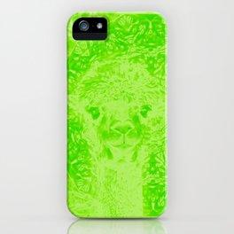 Ghostly alpaca and mandala in Green Flash iPhone Case