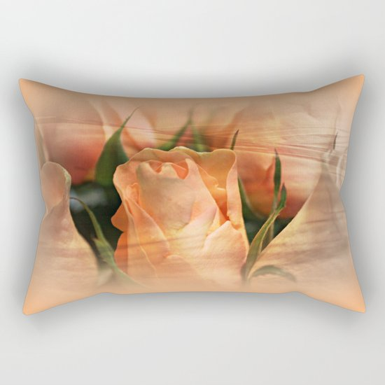 Hazy Apricot Beauty Rose Abstract Rectangular Pillow