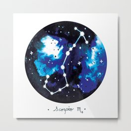 Scorpio Constellation Watercolour Metal Print