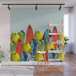 Tropical Fish Pattern Home decor Duck Egg Blue  Wall Mural