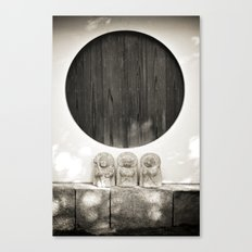 Jizo in Black and White, Kyoto Canvas Print