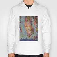 new york map Hoodies featuring New York map by Bekim ART