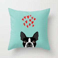 Boston Terrier - Hearts, Cute Funny Dog Cute Valentines Dog, Pet, Cute, Animal, Dog Love,  Throw Pillow