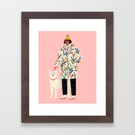 Girl with Dog Framed Art Print