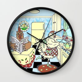 Retro Chickens in the Kitchen Wall Clock