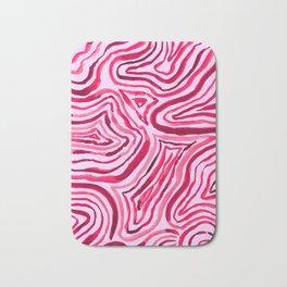 Abstract Magenta Swirl Line Design Boho Bath Mat