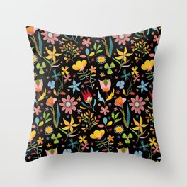 Dream Florals, Black Background Throw Pillow