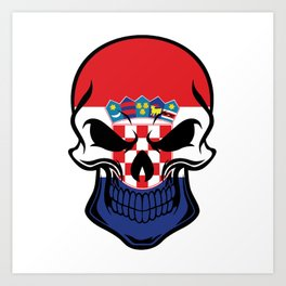 Croatian Flag Skull Art Print