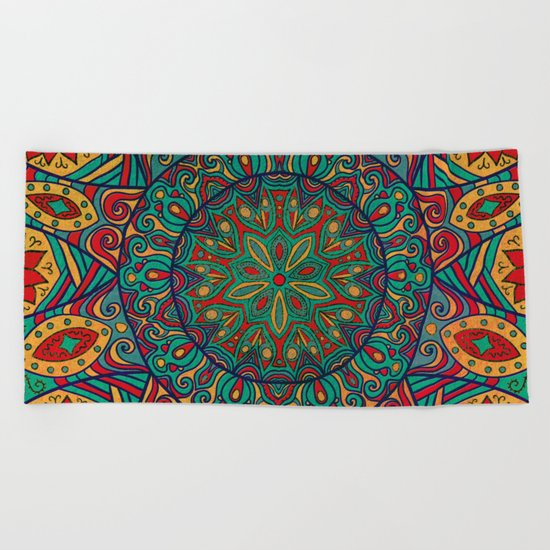 Tribal Mandala Beach Towel