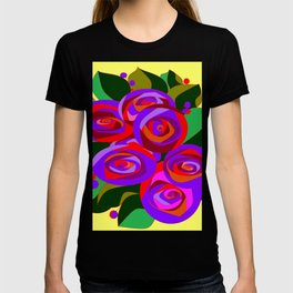 A Bouquet of Big Flowers with Yellow Background and Purple Tones T-shirt