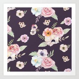 Floral I - Eggplant Art Print