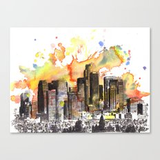 Los Angeles Cityscape Skyline Painting Canvas Print