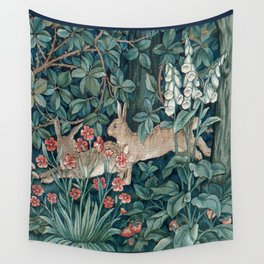 William Morris Forest Rabbits and Foxglove Wall Tapestry