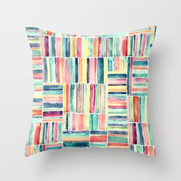Retro Beach Chair Pastel Watercolor Stripes Throw Pillow