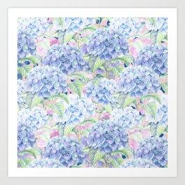 Botanical pink lavender watercolor hortensia floral Kunstdrucke