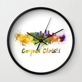 Corpus Christi skyline in watercolor Wall Clock