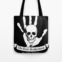 skyrim Tote Bags featuring The Dark Brotherhood by adho1982