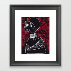 Tribal woman with traditional patterns Framed Art Print