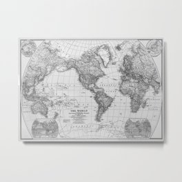 Black and White World Map (1922) Metal Print
