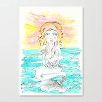 mermaid Canvas Prints featuring Mermaid by Lisa Bulpin