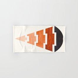 Burnt Sienna Watercolor Ombre Geometric Aztec Triangle Pyramid Pattern Minimalist Mid Century Design Hand & Bath Towel