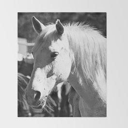 White Horse-B&W Throw Blanket