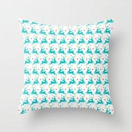 Blue Reindeer Christmas Pattern Throw Pillow