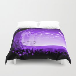 Dark Forest at Dawn in Amethyst Duvet Cover
