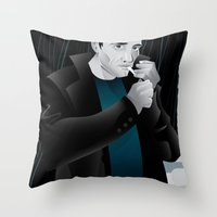 dwight Throw Pillows featuring Sin City-Dwight by Szoki