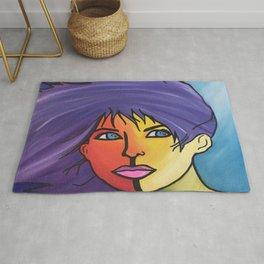 Anime Purple woman face Wind fantasy  Rug
