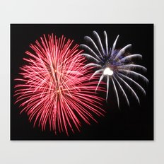 Love Fireworks with heart Canvas Print