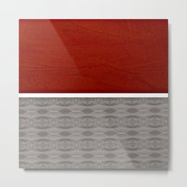 Red And Grey And White Stripe Graphic Offset Pattern Metal Print