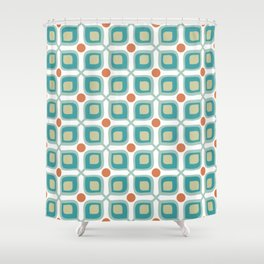 Abstract Flower Pattern Mid Century Modern Retro Turquoise Orange Shower Curtain