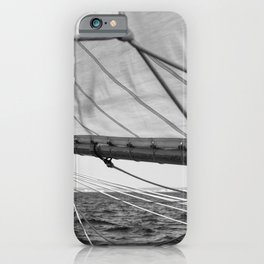 Black and white sail- Nautical photography - Classic sailing yacht iPhone Case