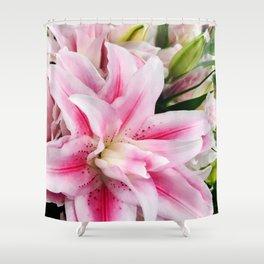 Luxurious Pink Star Lilies Floral Bouquet Shower Curtain