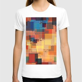 Multi color Square Geometrical Overlays T-shirt