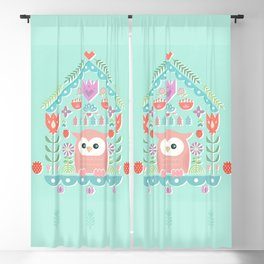 Scandinavian Folk Style Owl Bird House Blackout Curtain